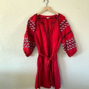Gap Red Embroidered Tunic Dress